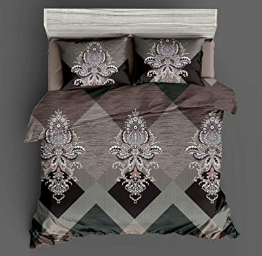 Golcha Royal Super King Size 160 GSM Glace Cotton Bed Sheet 108 x 108 inch Size with 2 Pillow Cover, 275 x 275 cm Super King