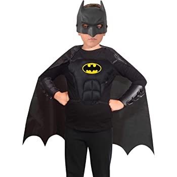 Ciao-Batman Kit Travestimento Originale DC Comics (Taglia Unica Bambino 5-12 Anni): Maschera, Mantello, Corpetto, bracciali Costumi, Colore Nero, 20092