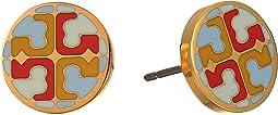 Multi Enamel Logo Circle-Stud Earrings