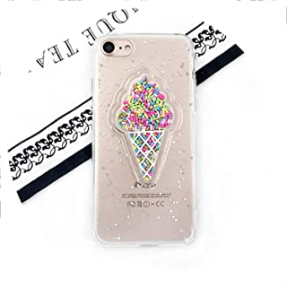 Lovely 3D Ice Cream Phone Case for iPhone Xs Max XR 6 6S 7 8 Plus Shining Glitter Powder Sof TPU Anti-Shock Back Cover,White,for iPhone 8