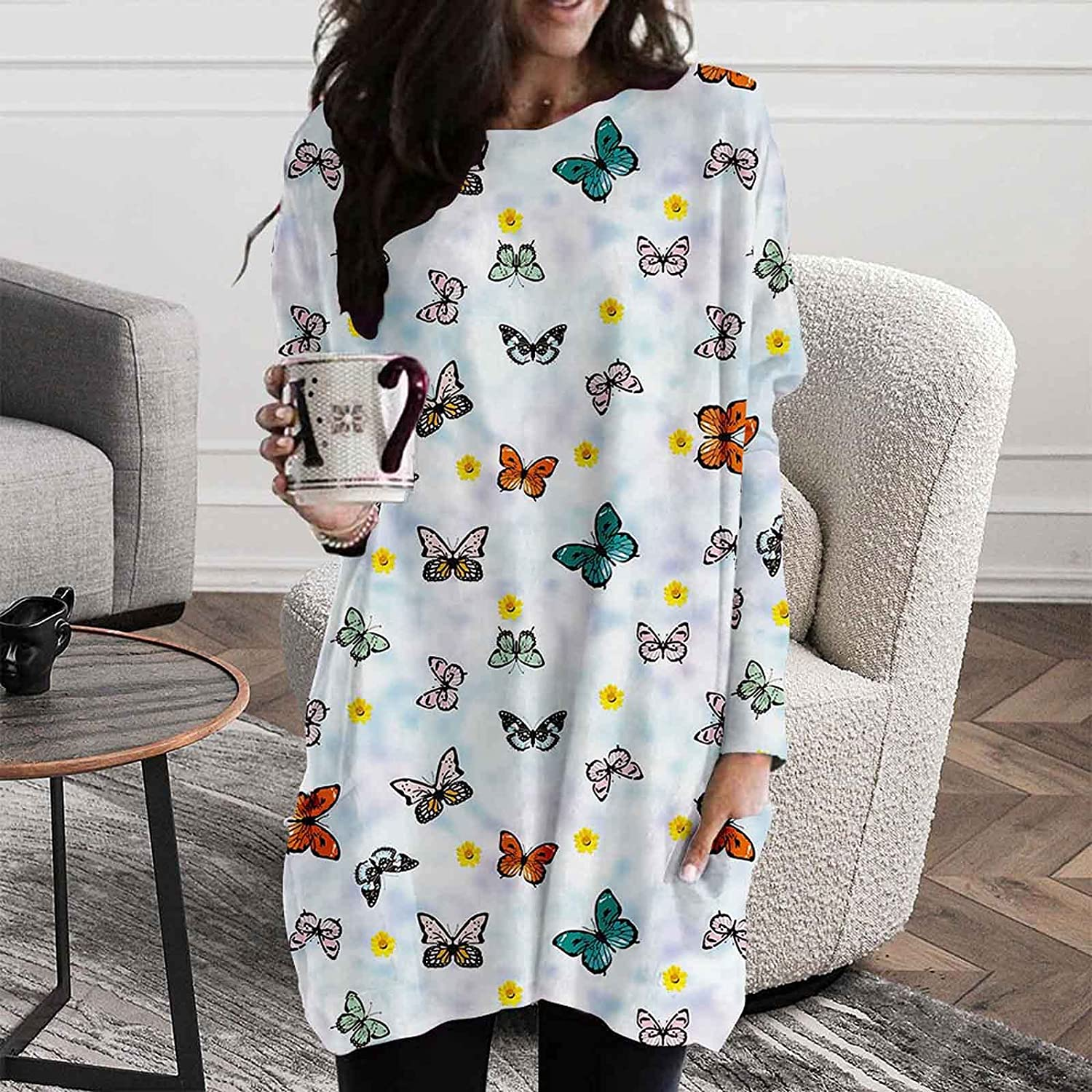 Women Tunic Tops Butterfly Print Long Sleeve Pocket Crewneck Blouses Autumn Casual Loose Soft Shirts