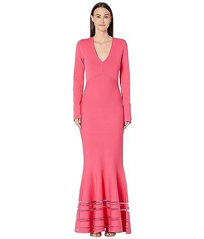 Zac Posen Long Sleeve Deep V Dress (Orchird) Women