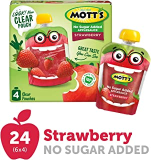Mott's No Sugar Added Strawberry Applesauce, 3.2 Ounce Clear Pouch, 4 Count (Pack of 6), Perfect for on-the-go, No Added Sugars or Sweeteners, Gluten Free and Vegan