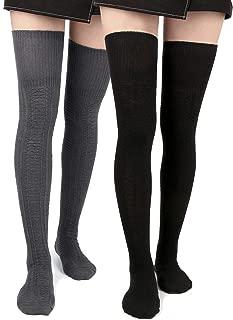 Women Thigh High Socks Knit Over Knee High Stockings Warm Thick Tall Long Boot Socks Leg Warmers