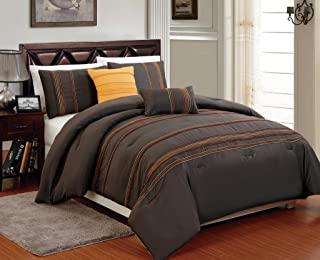 Legacy Decor Beautiful 5 PC Chocolate Brown with Marigold Back, King/Cal King Size Comforter Bedding Set