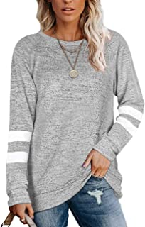 Womens Crewneck Sweatshirts Color Block Long Sleeve Sweaters Tunic Tops