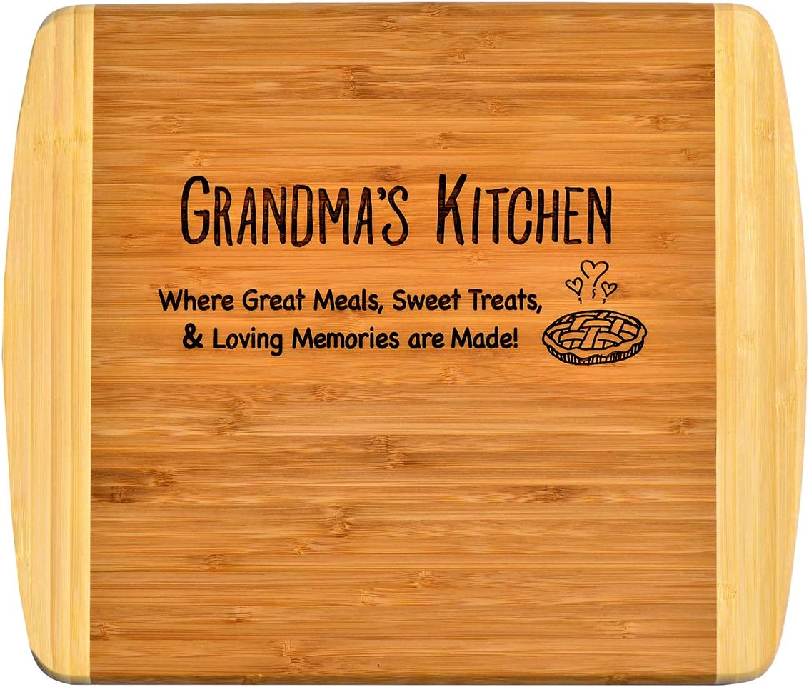 GRANDMA GIFT - Engraved 2-Tone Bamboo Cutting Board - 2-Sided Kitchen Design One Side For Decor Reverse Side For Usage Grandma Birthday Mothers Day Christmas Gift Grandmother (11 1/2 x 13 1/2)