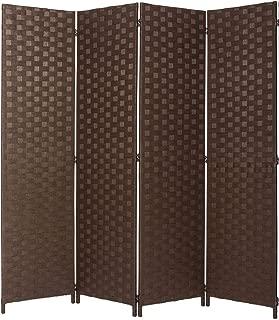 Legacy Decor Room Divider 4 Panel Weave Design Fiber Brown Color