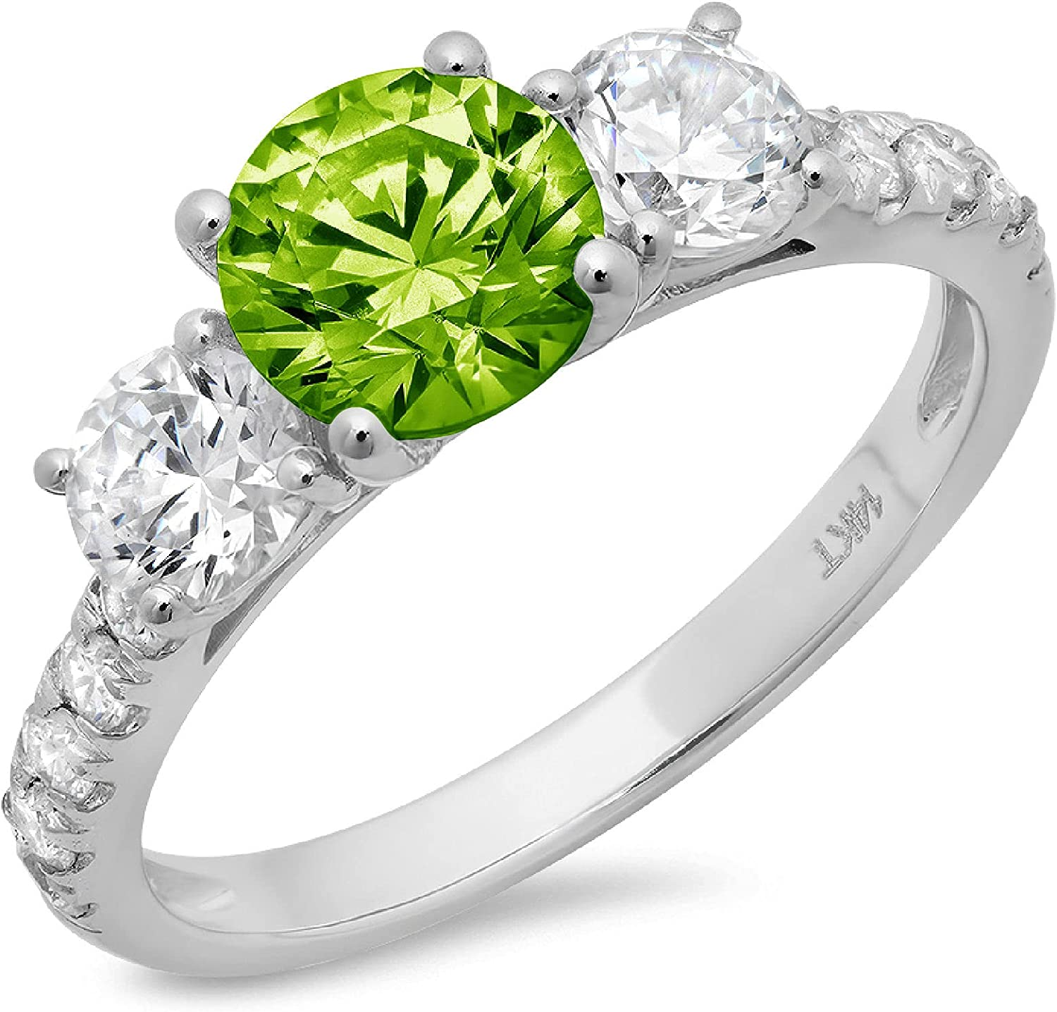 2 ct Brilliant Round Cut Solitaire 3 stone Accent Genuine Flawless Natural Green Peridot Gemstone Engagement Promise Statement Anniversary Bridal Wedding Ring Solid 18K White Gold