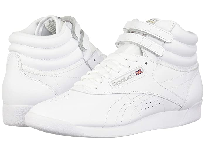 Retro Sneakers, Vintage Tennis Shoes Reebok Lifestyle Freestyle Hi WhiteSilver Womens Classic Shoes $74.95 AT vintagedancer.com