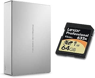 LaCie Porsche Design 6TB STFE6000401 USB 3.1 Type-C Desktop Hard Drive W/Lexar 64GB 633x U3 SDXC UHS-I Card + 2mo Adobe CC Photography