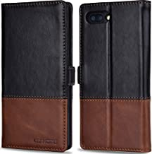 KEZiHOME BlackBerry KEY2 Case, Color Matching Genuine Leather Wallet Case with Kickstand and Multiple Card Slots Protective Cover for BlackBerry KEYtwo (Key2) (Black/Brown)