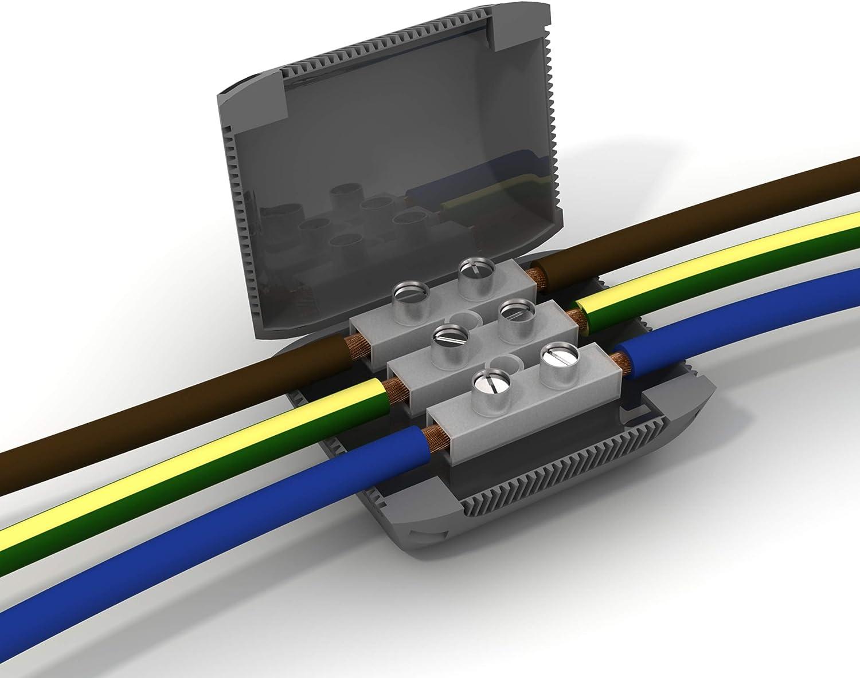 Etelec Shell Box Dispositif Connexion Isolation Gel Protection Eau IPX8 C/âbles Petite Section 0,2-4 mm2 1 P/ôle Connecteur inclus MJB112-2 Vie per Polo