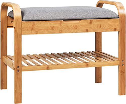2021 Giantex Shoe Rack Bench with outlet sale Storage, Bamboo Storage Bench with Cushioned Seat, Padded Seat Shoe Bench with Storage Shelf, online Shoe Organizer for Entryway, Hallway, Bedroom, Holds Up to 330 LBS outlet sale