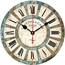 BJGCWY Vintage Round Wooden Wall Clock Watch European Style Noiseless Quartz Bracket Wall Clocks Living Room Home Decoration