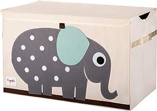 3 Sprouts - Coffre à jouets pour enfants - Coffre de rangement pour la chambre des garçons et des filles, éléphant