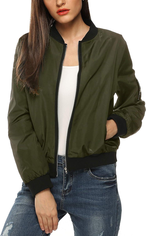 Zeagoo Women's Bomber Jacket Casual Coat Zip Up Outerwear Windbreaker : Clothing, Shoes & Jewelry