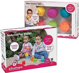 Edushape Baby Blocks & Sensory Ball Set - 10 Colorful 3D Interlocking Stacking Blocks and 6 Textured Tactile Balls, BPA Fr...