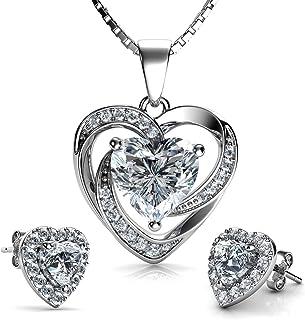 DEPHINI - White Heart Necklace & Heart Earrings Set - 925 Sterling Silver - Crystal Studs & Pendant Birthstone- Fine Jewel...