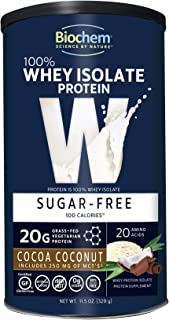 Biochem 100% Whey Isolate Protein - 11.5 Ounce - Cocoa Coconut Flavor - 20g Vegetarian Protein - Keto-Friendly - Amino Acids - May Help Support Immune System - Easy to Mix - Preworkout Shake