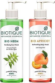 Biotique Bio Neem Purifying Face Wash, 200 ml & Biotique Apricot Body Wash, Transparent, 200 ml