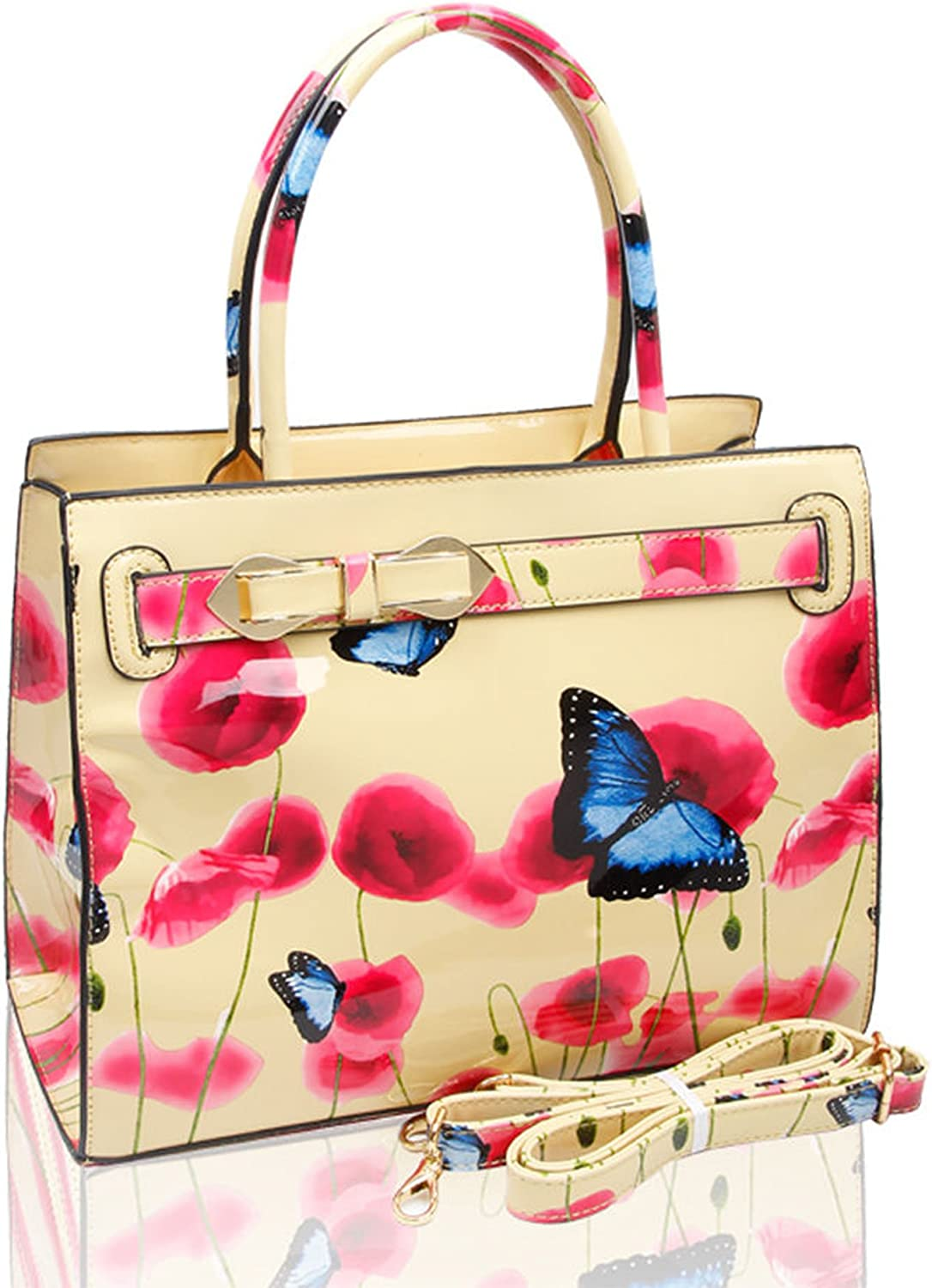Women Floral Butterfly Print Shiny Patent Shoulder Handbag Tote Top-Handle Bag