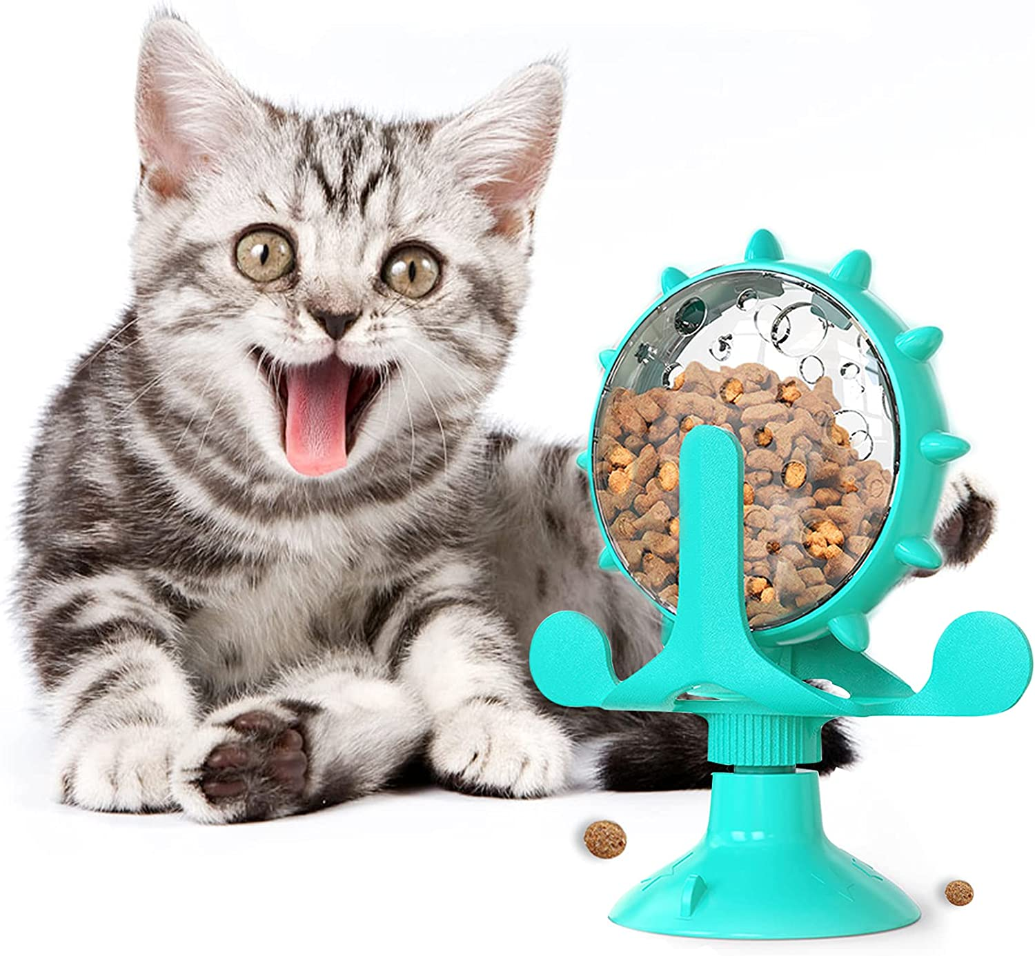 Cat Treat Dispenser Toy,360° Rotating Windmill Interactive Slow Feeder Toy for Cats Enrichment IQ Pet Toy with Suction Cup,Food Leaky Dispenser Toy for Kitten Pet Feeding