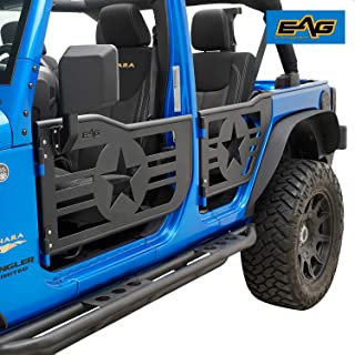 EAG Military Star Tubular 4 Door with Side View Mirror Fit for 07-18 Jeep Wrangler JK 4 Door Only