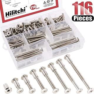 Hilitchi 116-Pcs M6 x 20/30 / 40/50 / 60/70 / 80mm Rivet Phillip Countersunk Head Screws Bolts Dowel Barrel Nuts Assortment Kit for Furniture Hardware Fitting