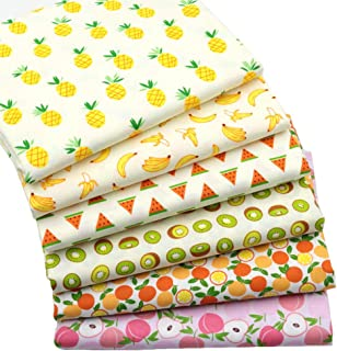 Printed Fruits Cotton Fat Quarters Fabric Bundles,Quilting Fabric for DIY Sewing Crafts,18