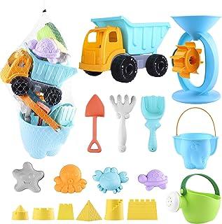 Biulotter 20Pcs Kids Beach Sand Toys Set Sand Water Wheel, Castle Molds, Truck Bucket, Beach Shovels RakesTool Kit, Hourgl...