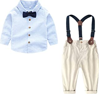 Welity Baby Boys' Tuxedo Shirt and Suspender Pants Set
