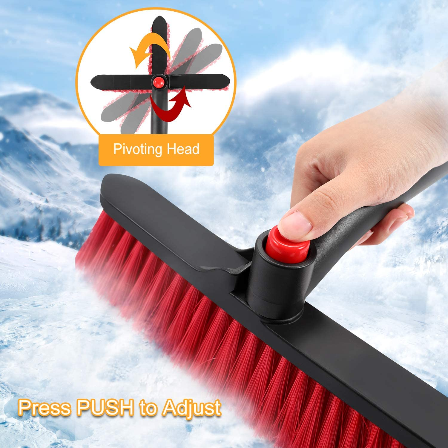 50in COFIT 3 in 1 Detachable Car Snow Brush with Squeegee and Ice Scraper Car Snow Scraper Removal with Foam Grip for Car Auto SUV Truck Windshield Windows