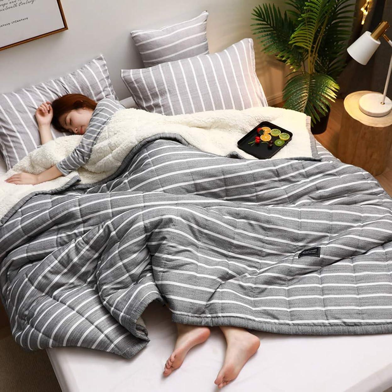 無心温度偏心ぬいぐるみブランケット,厚い 3-レイヤー 冬 暖かい 1 ダブル ベッド オフィス 日 (秒) 小さな毛布シート-d 150x200cm(59x79inch)