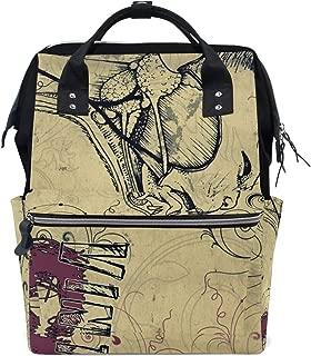 Backpack Vintage Postcard Wolf Mens Laptop Backpacks Shoulder Hiking Daypack