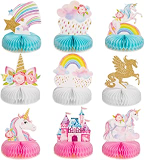 Outus 9 Pieces Rainbow Unicorn Honeycomb Centerpiece Shiny Unicorn Honeycomb Table Topper for Unicorn Honeycomb Birthday P...