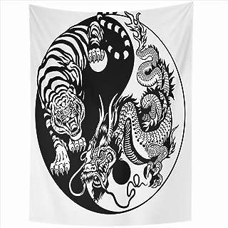 Ahawoso Tapestry 60x90 Inch Chinese Dark Monochrome Dragon Tiger Ancient Yin Yang Harmony Animals Wildlife Union Tattoo White Black Circle Tapestries Wall Hanging Home Decor Living Room Bedroom Dorm