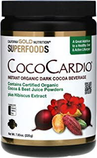 California Gold Nutrition CocoCardio, Certified Organic Instant Dark Cocoa Beverage with Beet Juice & Hibiscus, 7.93 oz. (...