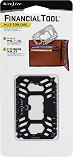 Nite Ize Financial Tool Card, Stainless Steel 9-in-1 Multi Tool Card Fits in Your Wallet, Black
