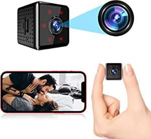 Upgraded Mini Spy Camera WiFi 1080P Wireless Hidden Camera with Live Feed Phone APP Remote Viewing Portable Small Home Security Nanny Cam with Night Vision and Motion Detection