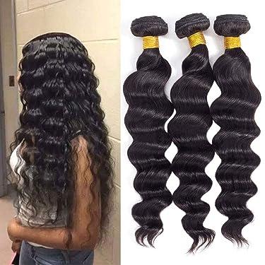 "Brazilian Virgin Hair Loose Wave 3 Bundles 16"" 18"" 20"" 300g 10A Brazilian Remy Virgin Human Hair Bundles 100% Unprocessed Virgin Remy Human Hair Bundles Natural Color"