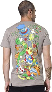 Men's Exlusive Alice in Wonderland Psychedelic Top - Fine Print Cotton T-Shirt