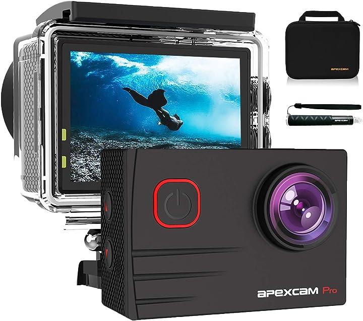 Fotocamera subacquea 20mp eis wifi ultra hd sports camera mic esterno 2`` 2.4g telecomando apexcam M90-PRO