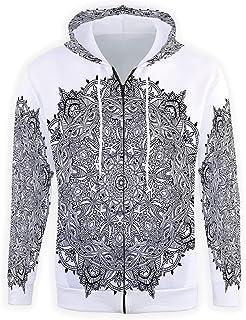 iPrint Mens Full-Zip Hooded,Mandala Sweatshirt