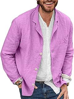 Achinel Men's Cotton Linen Blazer Suit Jacket Coat Casual Button Down Cardigan Outwear Top