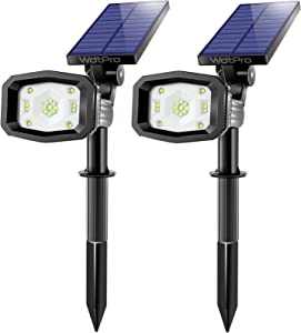 Solar Spot Lights Outdoor, WdtPro 17 LEDs Bright Outdoor Solar Landscape Spotlights with 2 Light Modes, 2-in-1 Waterproof Solar Powered Garden Lights for Pathway Patio Yard - Cool White (2 Pack)