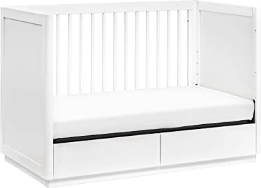 Babyletto Bento 3-in-1 Convertible Storage Crib with Toddler Bed Conversion Kit in White, Greenguard Gold Certified