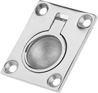 1.7X 1.4 inch 43 x 36mm Gazechimp 10x Marine Rectangular Recessed Spring Loaded Lifting Ring Pull Handle for Boat Hatch Stainless Steel