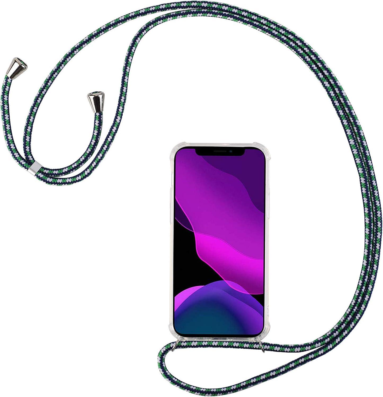 2ndSpring Funda con Cuerda Compatible con Xiaomi Mi 10 5G,Colgante Collar Correa de Cuello Cadena Cord/ón,Blanco Plata