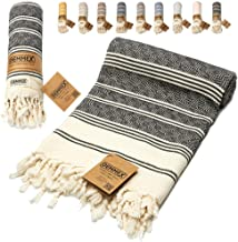 DEMMEX Oeko-TEX Certified 100% Organic Cotton & Organic Dye Prewashed XL Diamond Weave Turkish Towel Peshtemal Blanket for...